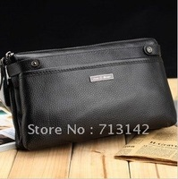 Men bag, High Quality, Genuine Leather Clutch Bag for Men, 100% First Layer Cowhide Bag, Black, LAODIVISI 6078