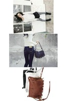 The new female bag small tassel package inclined satchel shoulder bag PU female bag tide female small bag