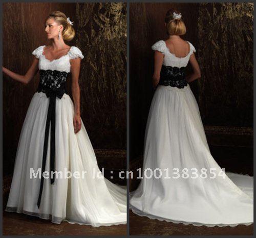 Short White Wedding Dress Black Lace : White a line v neck short sleeves black lace waist