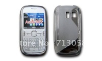 Free shipping 20pcs S line pattern tpu gel case cover for Nokia asha 302   with excellent quality