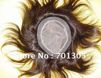"Stock!!! India remy human hair 8"" hair length natural color size 7X9 straight style toupee"