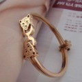 Holiday Sale 2013 new super star 18K rose golden Double the leopard head bracelet