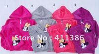 4sets/lot free shipping velvet children clothes sets Mitch girls sport suit zipper coat +pants 2pcs stes baby garment wholesale