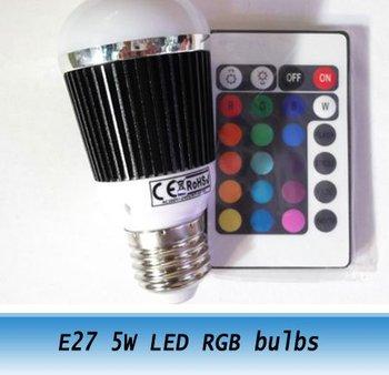 E27 5W LED RGB remote control bulbs Lamp colorful light AC 85-265V