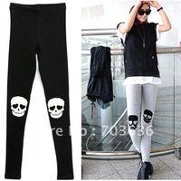 Free Shopping New 2013 Hot Selling Women's Legging  Street Skull Legging Female Ankle Length Trousers Legging Pants