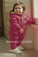 free shipping HOT baby autumn/winter warm thick romper, purper hot color, fashion design for 0-1 years