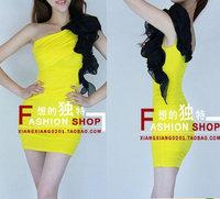 Free shipping Fashion Night Club Sexy Slim Hip Tight Silk Elegant Ladies One-shoulder Yellow Dress