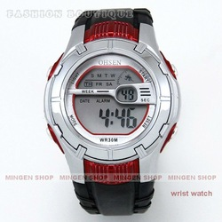 Free shipping 8 Color LCD Digital Alarm Date Men Women Black + Red Unisex Sport Wrist Watch C0007 watch wholesale(China (Mainland))