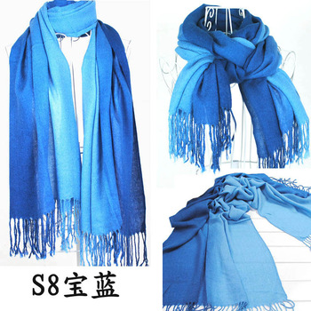 Gradient color tassel scarf autumn and winter ultra long cape dual faux wraps free shipping