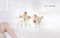1x Fashion Korean Lovely Romantic Gold Plated Rhinestone Crystal Bowknot Flower Ear Stud Earrings 01-0015