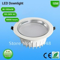 Free shippin led downlight 18w white high power LED 110-240V AC recessed down light high brightness commercial lighting rohs ce