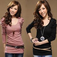 2012 autumn basic shirt long slim princess sleeve big puff sleeve long-sleeve T-shirt - 20