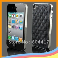 Hot Sale ! Free Shipping New Deluxe Leather Chrome Back Case Cover Skin House for Apple iPhone 4 4G, Black Available
