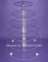 6 Tier 5mm Thick Round Maypole Clear Acrylic Wedding Party Fairy Cupcake Display Stand