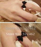 1x Retro Full Crystal Bow Cute Bowknot Ring Black #01-0024