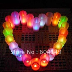 Free Shipping Color Changeable Romantic LED Electric Candle Light Sensor Acoustic Control(China (Mainland))