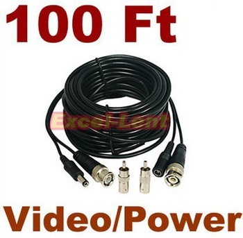 100ft CCTV CCD Camera Video & Power Cable BNC RCA DVR