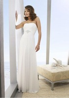 Free Shipping 2012 Hot-sale White Sexy A-line Off-Shoulder Floor-length Chiffon wedding dress with Beads