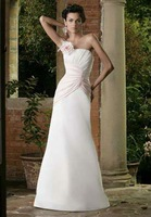 Free Shipping 2012 Hot-sale sexy A-line Off the Shoulder Back Flowers Chiffon wedding dress