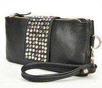 wholesale day evening bag clutch black rivet shiny bag wrist Handbag purse wallet Designer Lady Fashion night club elegant brand