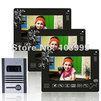 "The latest touch key 9"" color LCD wired video door phone 1 to 3 ,support 4CH video in, 1CH video out,night vision, unlcoking"