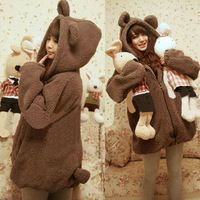 Women's Cute  Bear Overcoat  Plush Fleece Outerwear Fur Coat Thickened  Sweatshirt Warm Coat