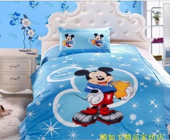 baby/kid quilt cover+bedsheet+pillow cover,blue mickey .bedding sets