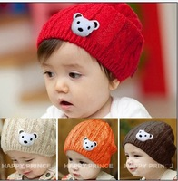 G1 Korean Style Baby Cartoon Bear Twist Hat, Kids/Children Winter Hat, 5pcs/lot
