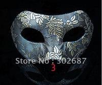 Free Shippimg 10 pcs Blue Floral Design Half Face Cloth Mask Mardi Gras Costume Masquerade Halloween Party MASKS