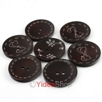 Wholesale - Free ship 120pcs Mixed Coffee Two Holes Wooden Buttons 30mm Fit Clothes Accessories  111544