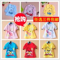 Clothing autumn baby long-sleeve T-shirt male female child sweatshirt baby pure 100% cotton top vesseled belt buckle t-shirt
