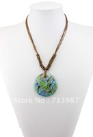 1pc Fashion European Bule background Flower Lampwork  Murano Glass Pendant  Necklaces Jewelry  BS145