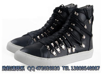 2012 fashion personality high-top shoes lacing after side zipper trend casual gaotong boots black