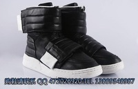 Fashion 2012 fashion high men's boots double velcro tape zipper cowhide high casual shoes black