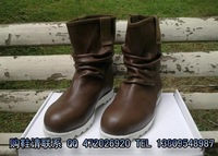 Fashion 2012 fashion gaotong casual trend boots pleated cowhide high lovers design men's boots brown