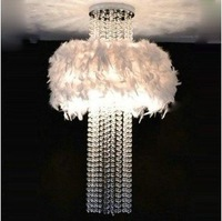 [Dec]80cm Modern White Feather Crystal Ceiling Light Lighting EMS SHIP