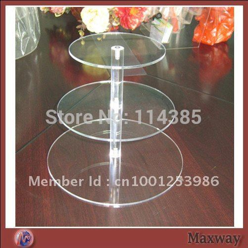 3 Tier 5mm Thick Round Maypole Clear Acrylic Wedding Party Fairy Cupcake Display Stand(China (Mainland))