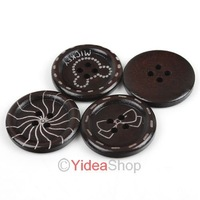 Wholesale - Free ship 220pcs Mixed Flower Desgin four Holes Wooden Buttons Coffee 25mm Fit Clothes Accessories  111549