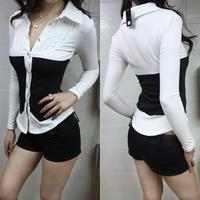Autumn ol white collar clothing black and white color block decoration brief long-sleeve blouse V-neck slim waist elegant top