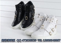 Fashion fashion cowhide high-top shoes hasp lacing fashion casual high shoes black and white
