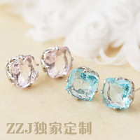 Original design 925 pure silver zhaohao blue pink crystal small stud earring female f