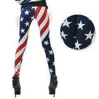 Free shipping American flag Stars and Stripes Stars Leggings Sexy Graffiti pantyhose dropship