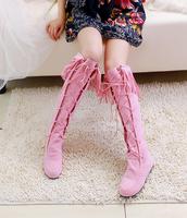 Женские ботинки Fashion medium-leg boots suede leather lacing tassel fur boots flat boots women's shoes 323
