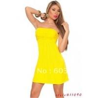 free shipping Hot Sexy yellow Strapless Mini Dress Clubwear