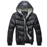 2012 autumn and winter new arrival faux two piece double with a hood male wadded jacket male cotton-padded jacket thick