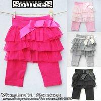 Free shipping 4 pcs/lot,Baby Girls capri pants,net yarn princess pantskirt,girl skirt leggings,knee length 4 colors,infant Pants