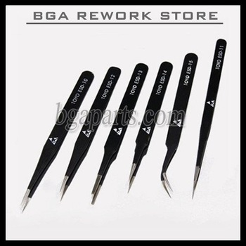 BGA tweezer Antistatic tweezers (6 sizes/set) stainless tweezers For Repair Use, reballing aid tools free shipping