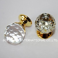 D30mmxH43mm Free shipping 30pcs/lot crystal glass drawer knob/cupboard knob