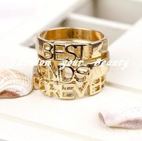 Free Shipping~~2012 Newest Metallic Letters Rings18KGP forever best friend rings 3pcs/set, OY090314 (R027)