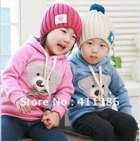 free shipping 5pcs/lot new style boy/girl jacket fashion baby little bear head bowknot hoodies cotton children's coat wholesale